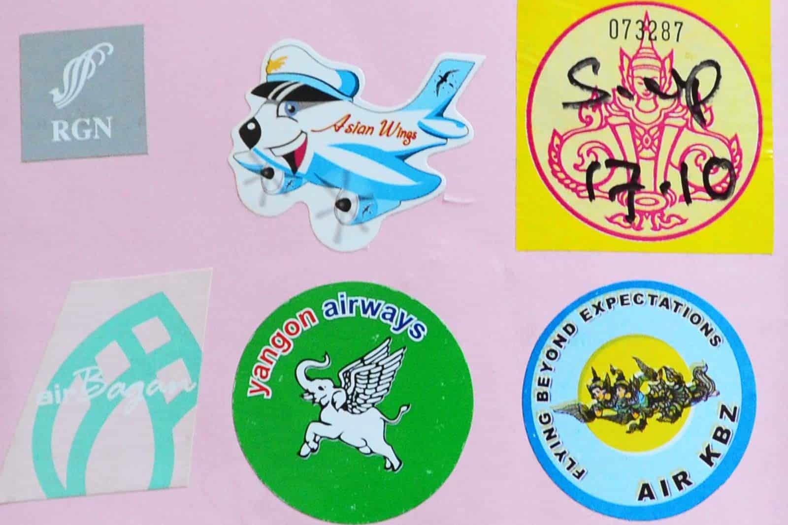 Stickers boarding pass au Myanmar